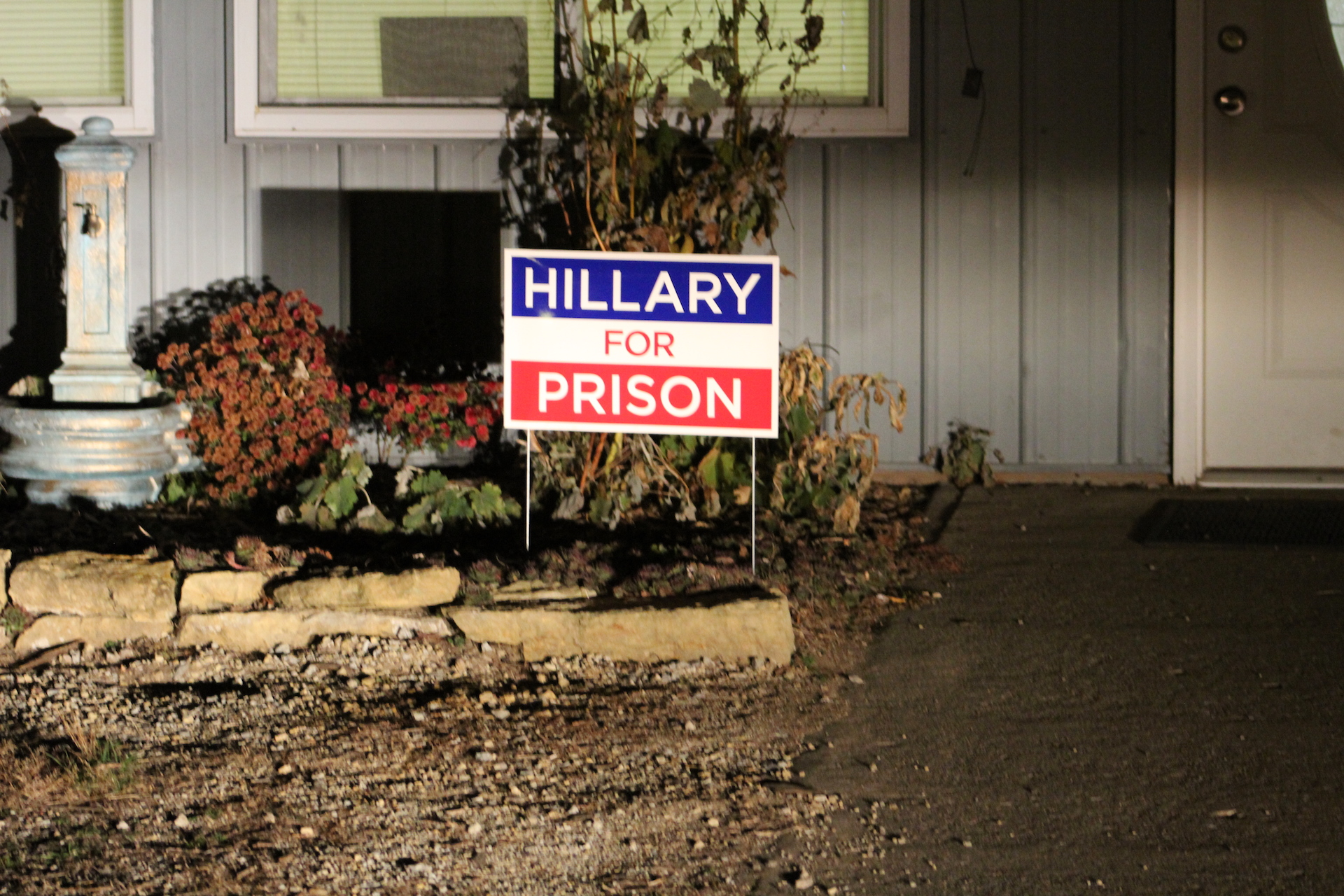 Buehler has this sign outside his garage/ house. Photo by Sabrina Johnkins.
