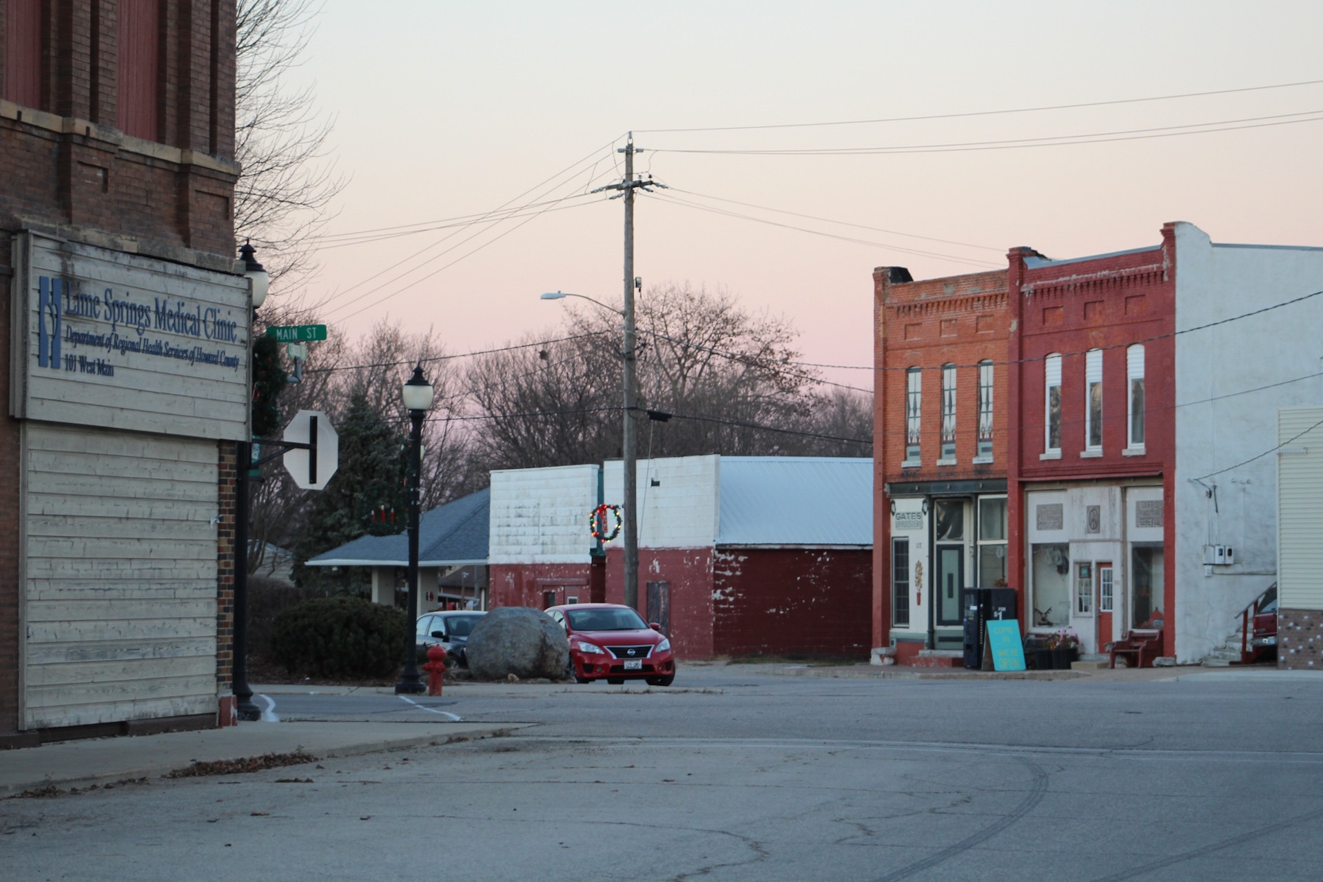A street scene in Lime Springs, Iowa. Photo by Sabrina Johnkins.